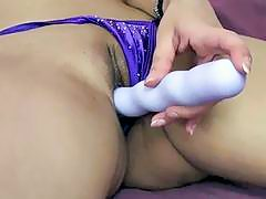 Exotic MILF Naomi Shah uses a toy on her twat